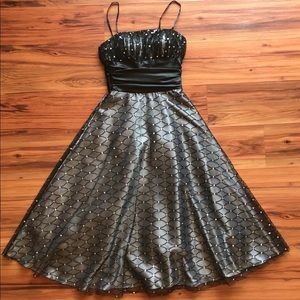 Vintage 90s black ball gown prom dress